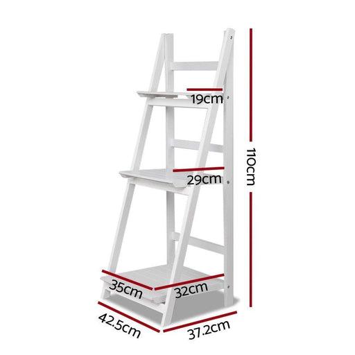 Artiss Display Shelf 3 Tier Wooden Ladder Stand Storage Book