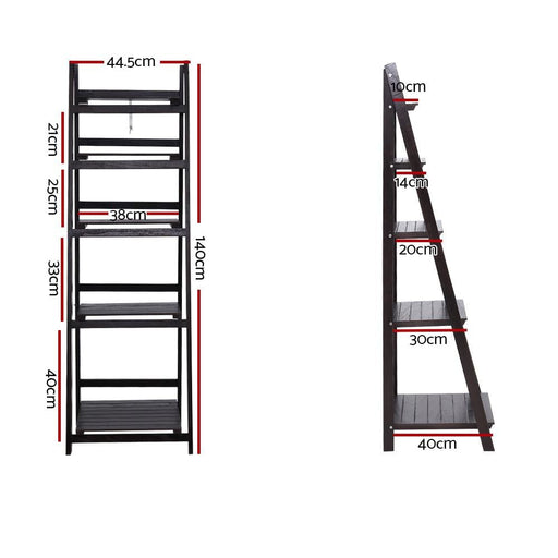 Artiss Display Shelf 5 Tier Wooden Ladder Stand Storage Book