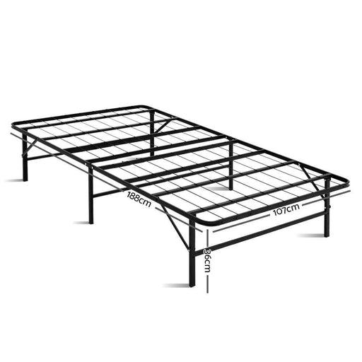 Artiss Foldable King Single Metal Bed Frame - Black goslash fast delivery fast delivery