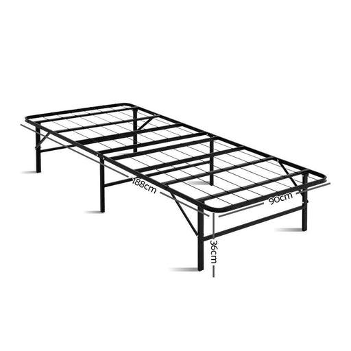 Artiss Foldable Single Metal Bed Frame - Black goslash fast delivery fast delivery