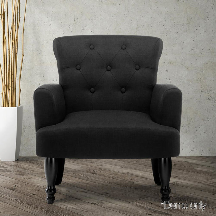 Artiss French Lorraine Chair Retro Wing - Black goslash fast delivery fast delivery