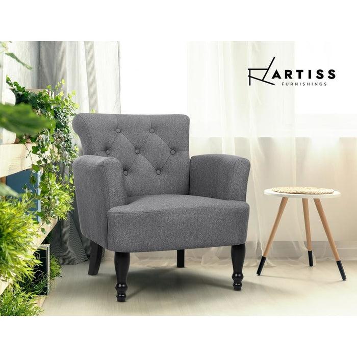 Artiss French Lorraine Chair Retro Wing - Grey - Furniture >