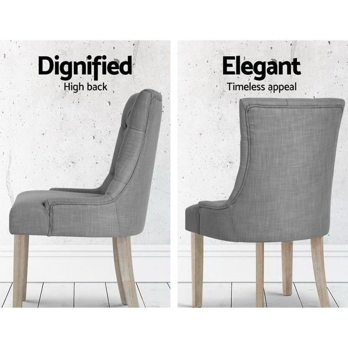 Artiss French Provincial Dining Chair - Grey - Furniture >