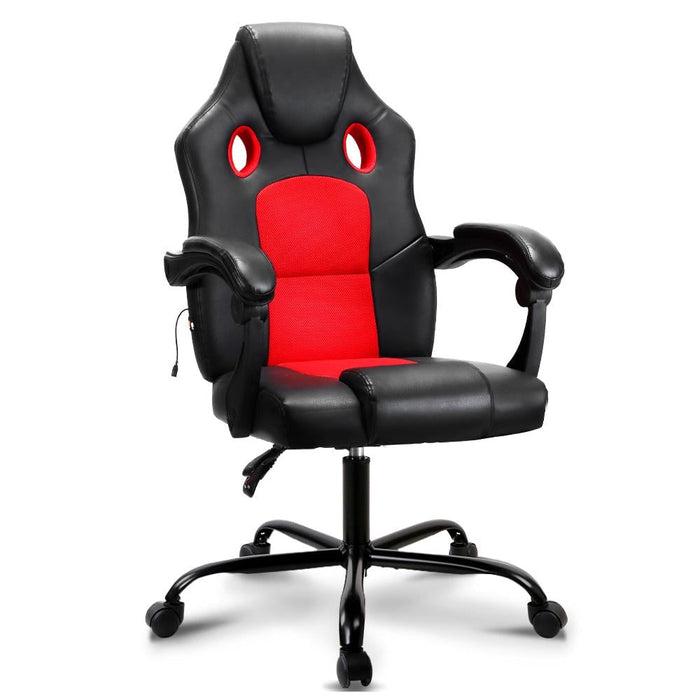 Artiss Massage Office Chair Gaming Computer Seat Recliner Racer Red