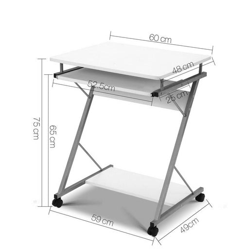 Artiss Metal Pull out Table Desk - White - Furniture >
