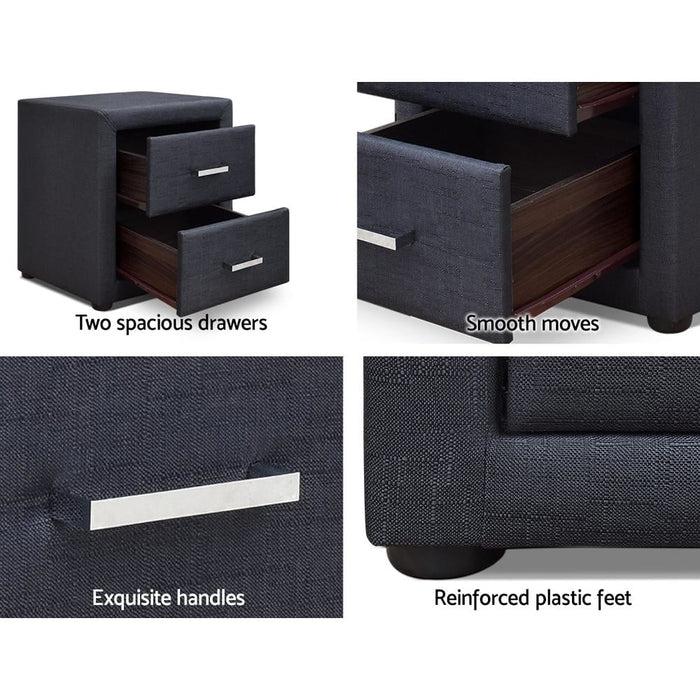 Artiss Moda Bedside Table - Charcoal - Furniture > Bedroom