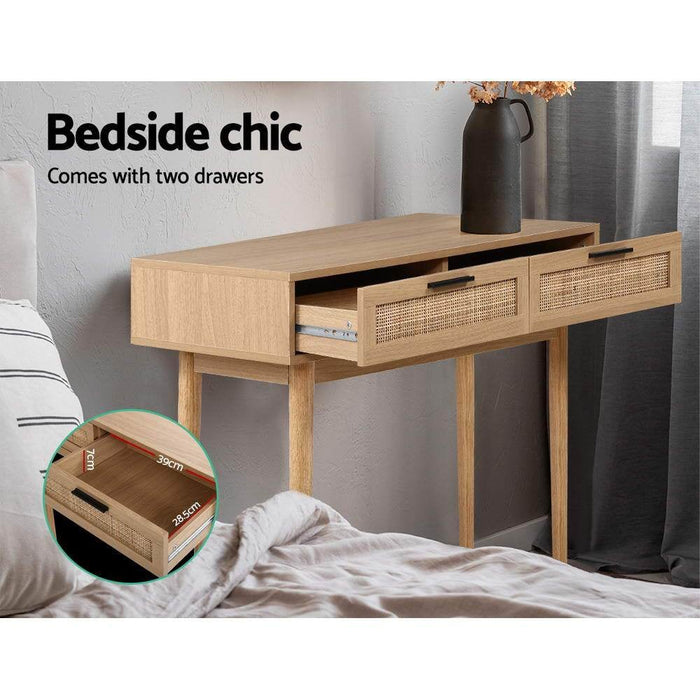 Artiss Rattan Console Table Drawer Storage Hallway Tables