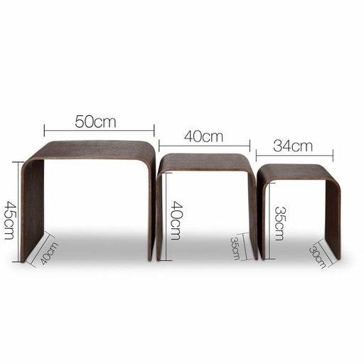 Artiss Set of 3 Wooden Coffee Table - Walnut - Furniture >