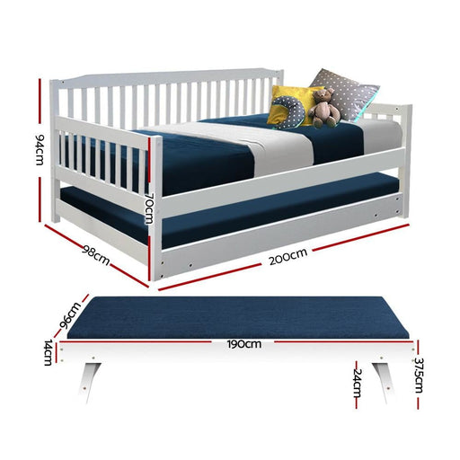 Artiss Single Wooden Trundle Bed Frame Timber Kids Adults -