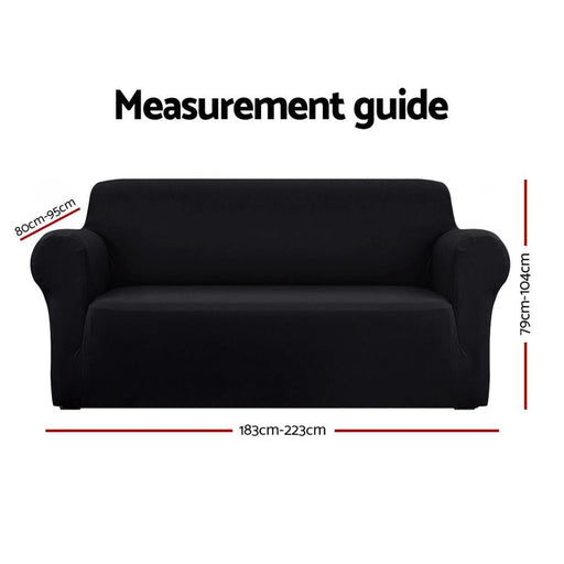 Artiss Sofa Cover Elastic Stretchable Couch Covers Black 3
