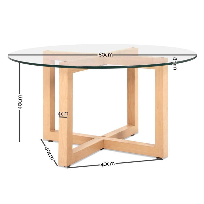 Artiss Tempered Glass Round Coffee Table - Beige goslash fast delivery fast delivery