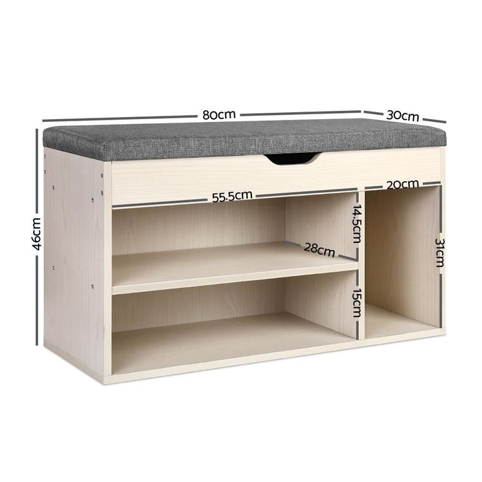 Artiss Wooden Shoe Organiser - Natural - Furniture > Living