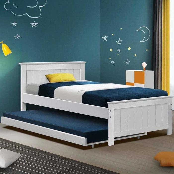 Artiss Wooden Trundle Bed Frame Timber Slat King Single Size
