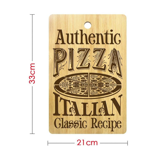 Authentic Pizza Italian Classic Recipe Rectangle Bamboo Pizza Cutting Board Personalized Pizza Chopping Board Pizza Lovers Gift (320x210mm)