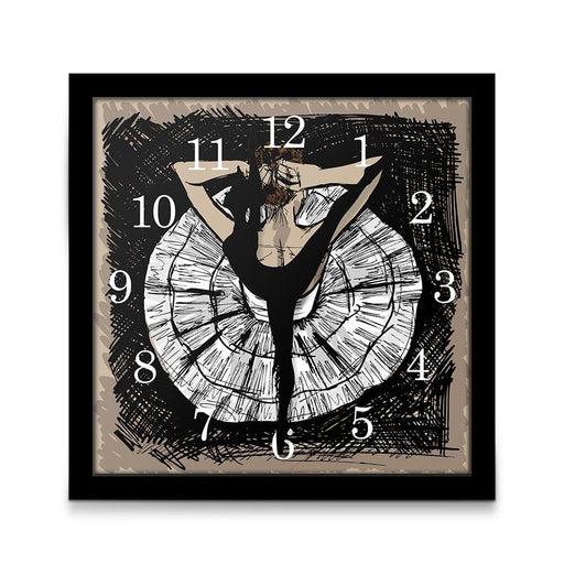 Square Frame Princess Pink Ballerina Dance Wall Clock Ballet Dancer Hexagon Table Desk Clock Silent Non Ticking Girl Room Decor