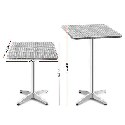 Bar Table Outdoor Furniture Adjustable Aluminium Pub Cafe