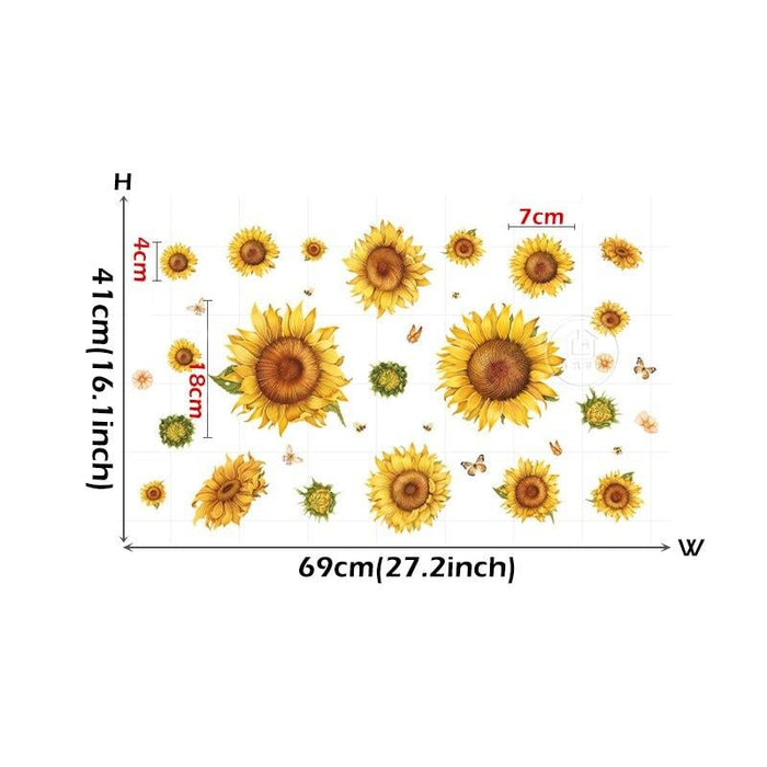 BRUP Beautiful Sunflowers Botanical Wall Stickers for Living