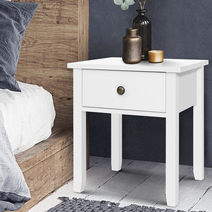 Bedside Tables Drawer side Table Nightstand White Storage