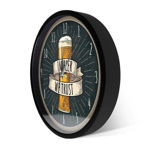 In Beer We Trust Bar Artwork Smart Voice Control Wall Clock With LED Light Kitchen Alcohol Decor Metal Frame Round Clock Watch