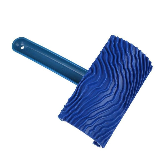 Blue Rubber Wood Grain Paint Roller DIY Graining Painting Tool with Handle Paint Application