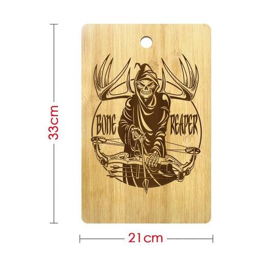 Halloween Bone Reaper Skull Personalized Cutting Board Grim Reaper Skeleton Bone Hunting Crossbow Butcher Hunting Chopping Board (330x210mm)