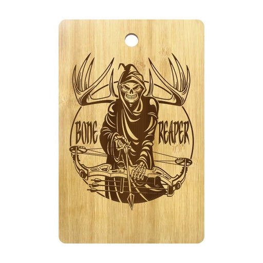 Halloween Bone Reaper Skull Personalized Cutting Board Grim Reaper Skeleton Bone Hunting Crossbow Butcher Hunting Chopping Board