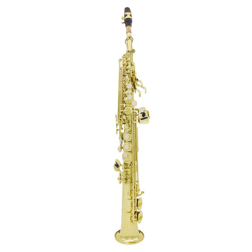 Brass Straight Soprano Sax Saxophone Bb B Flat Woodwind Instrument Natural Shell Key Carve Pattern with Carrying Case