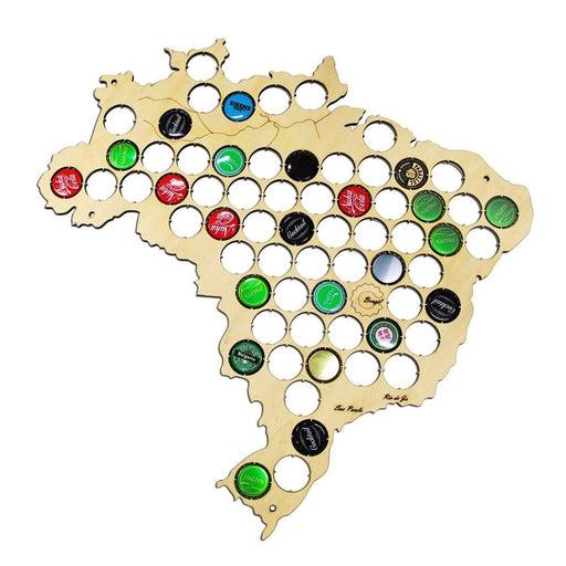 Brazil Beer Cap Map Brazilian Wooden Beer  Cap Trap Soda Pop Caps Display Map Of Brasil Beer Cap Home Decor Plywood  Craft Map