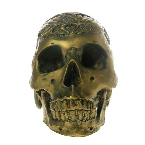 1:1 Human Life Size Bronze Floral Skull Head Statue Sculpture Collectible Skeleton Figurine with Movable Jaw Desktop Decoration