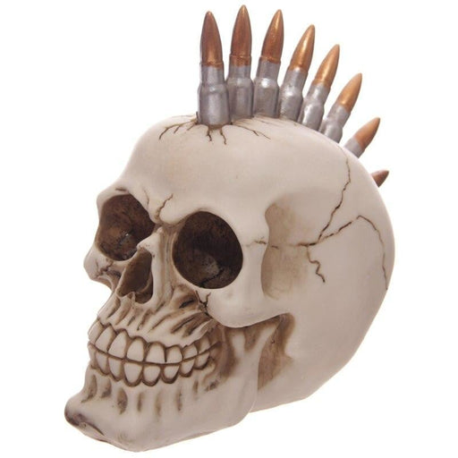 Bullet Head Skull Decoration Figurine Mohawk Skeleton Figure Mohican Punk Skull with Bullets Halloween Stylish Haircut Ghost
