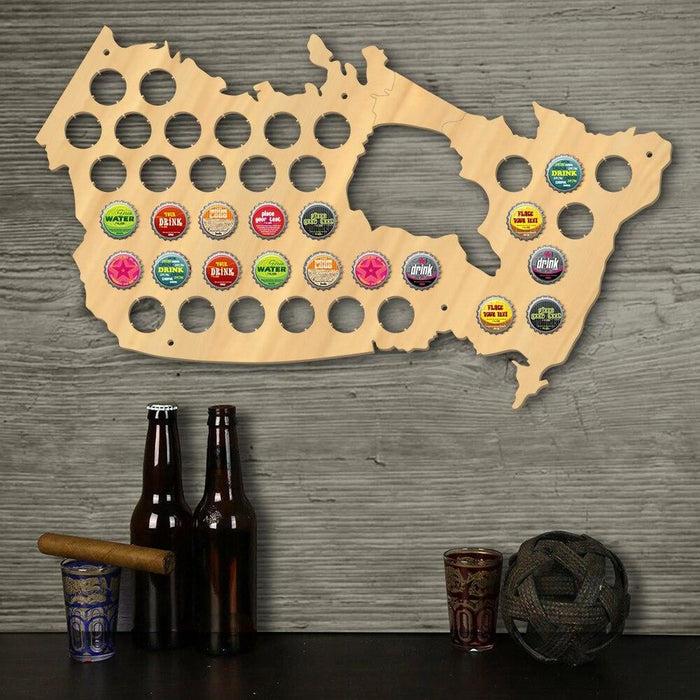 Canada Beer Cap Map Pub Bar Wooden Wall Sign Beer Bottle Cap Display Holder Patriotic Canada Map Man Cave Beer Lovers Gift