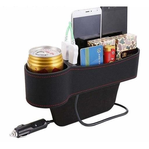 Car Organizer Storage Box Universal Car Seat Gap Organizer Multifunctional with Dual USB Charging Cup Holder Leather Storage Box