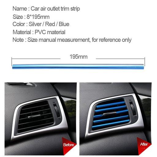 Car Styling Plating Air Outlet Trim Strip Auto Interior Air Vent Grille Switch Rim Trim Outlet Decoration Strip DIY Automotives