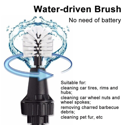 Car Wash Brush Clean Wash Tools Water-driven Rotating  Cleaning Brush For Car Motorcycle Bicycle Wheel Tire Rim Brush