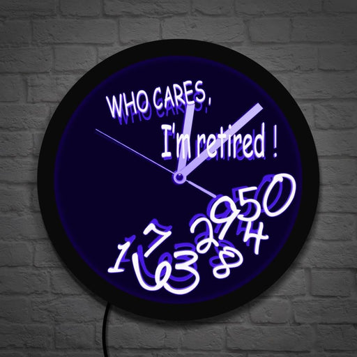 Fallen Numbers Retiring Luminous Wall Clock Who Cares I'm Retired Funny Clock Wall Watch LED Light Retirement Gift Office Decor