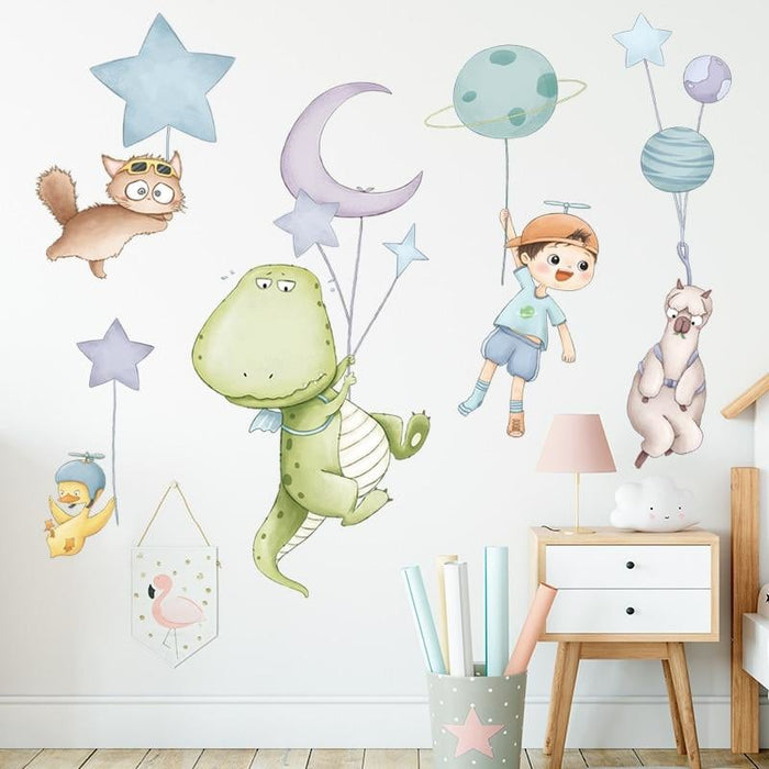 BRUP Cartoon Animals Dinosaur Fly with Planet Balloons Wall