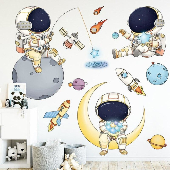 Cartoon Astronaut Space Planets Wall Stickers for Baby