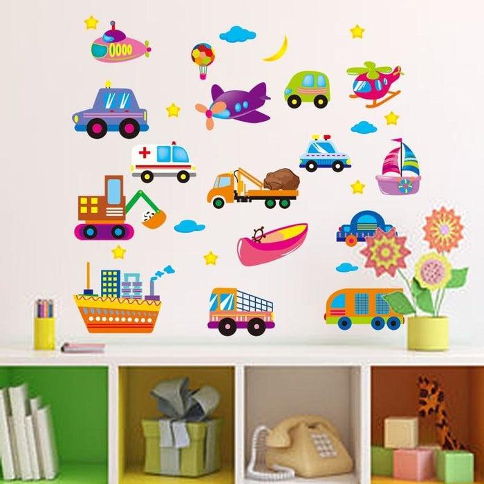 Cartoon Cars Airs Ships Wall Stickers Kids Study Sticker