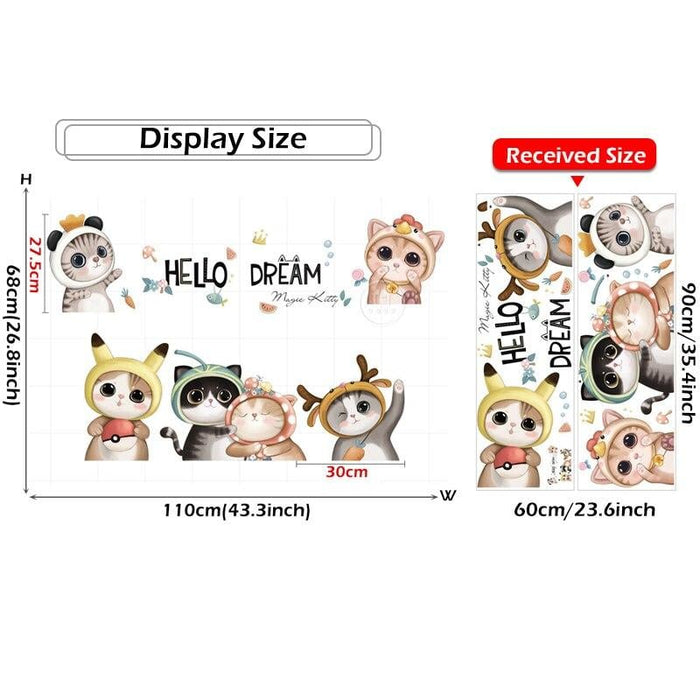 BRUP Cartoon Cute Cats Hello Wall Stickers for Kids Room