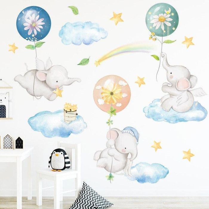 Cartoon Elephant Baby Wall Stickers with Air balloon Baby