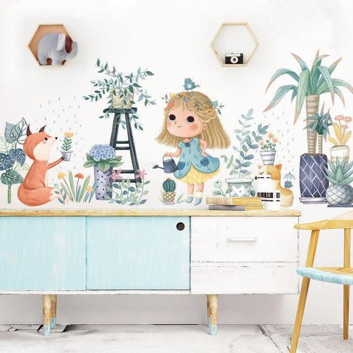 BRUP Cartoon Girl Fox Bonsai Plants Garden Wall Stickers