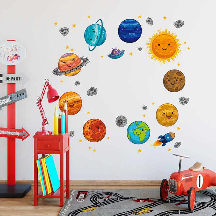 Cartoon Space Planets Astronaut Wall Stickers for Kids Room