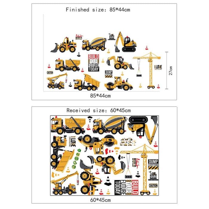 Cartoon Tractor Wall Stickers for Kids Rooms Decoration
