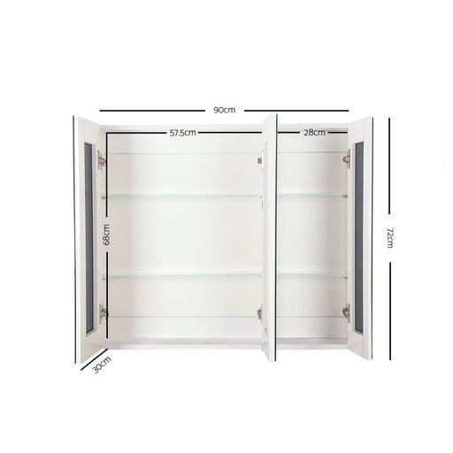 Cefito Bathroom Vanity Mirror with Storage Cabinet - White -