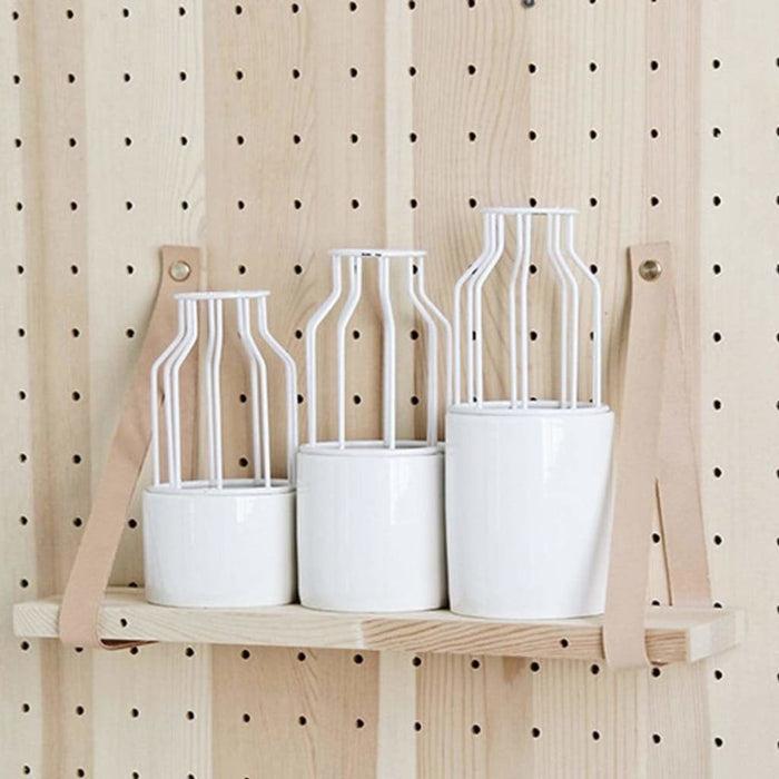 Ceramic Flower Pot +Geometric Metal Rack Home Garden Plant Display Stand Holder