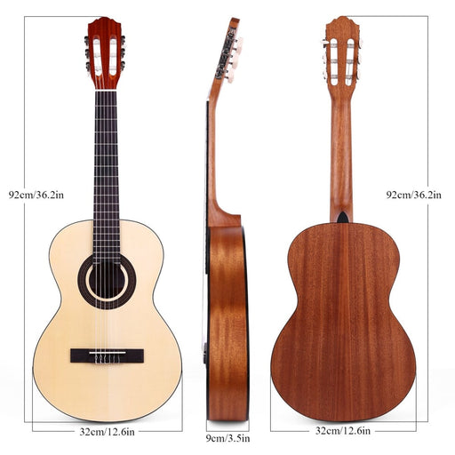 ammoon CG-11 36 Inch Travel Acoustic Classical Guitar Junior Size 6-String Spruce Topboard with Gig Bag Strings