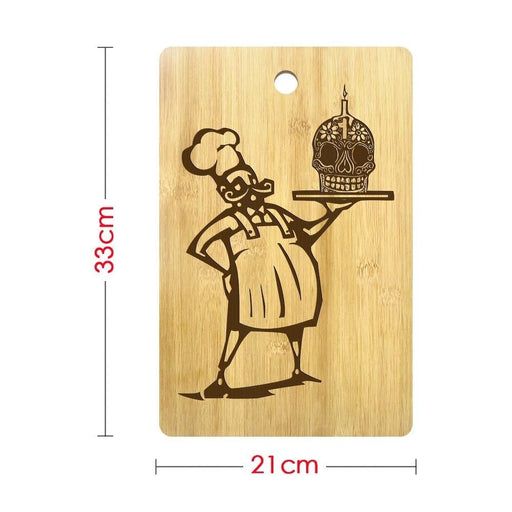 Day of The Dead Chef Skull Cook Engrave Cutting Board Dia De Los Muertos Kitchen Cooking Accessories Custom Name Chopping Board (320x210mm)