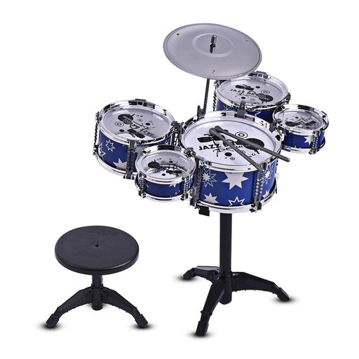 Children Jazz Drum Kit Drum Set for Kids Musical Educational Instrument Toy 5 Drums + 1 Cymbal with Small Stool Drum Sticks