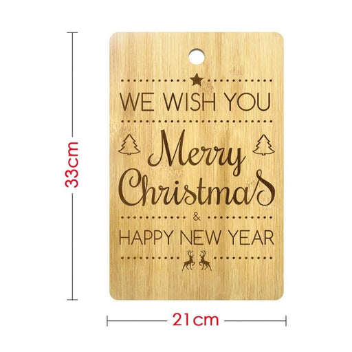 Merry Christmas Happy New Year Customizable Engraved Cutting Board Natural Bamboo Chopping Board Holidays Art Decor Kitchen Gift (320x210mm)