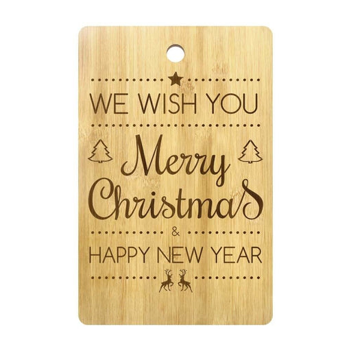 Merry Christmas Happy New Year Customizable Engraved Cutting Board Natural Bamboo Chopping Board Holidays Art Decor Kitchen Gift